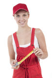 Female handworker with tape measure Stock Image