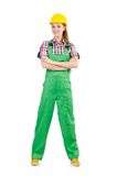 Female handyman in overalls isolated on the white Royalty Free Stock Image