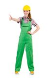 Female handyman in overalls isolated on the white Stock Photo
