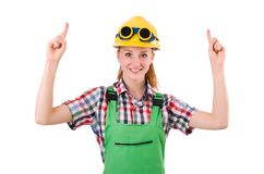 Female handyman in overalls isolated on the white Stock Images