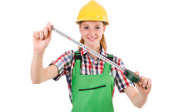 Female handyman in overalls isolated on the white Royalty Free Stock Photos