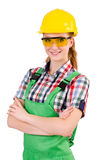Female handyman in overalls isolated on white Royalty Free Stock Photos