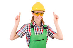 Female handyman in overalls isolated on white Stock Images
