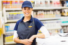 Female hardware store worker Royalty Free Stock Photos
