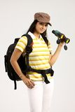 Female with hat and binocular Stock Photos