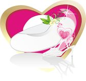Female hat and classic shoes for wedding. Romance composition. Vector illustration Royalty Free Stock Image