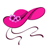 Female hat with flowers. Elegant female hat with flowers in retro style, isolated on white Stock Photography