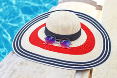 Female hat with sunglasses travel concept Royalty Free Stock Image