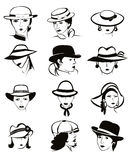 Female hats vector set. Stock Image
