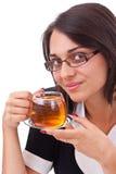 Female having cup of tea Stock Photos