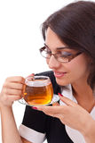 Female having cup of tea Stock Image