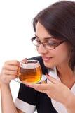 Female having cup of tea Stock Image