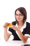 Female having cup of tea Stock Images