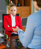 Female having difficult conversation Royalty Free Stock Photos