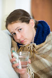 Female having heavy quinsy Stock Photo