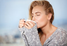 Female having morning coffee Stock Image