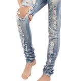 Female having sprain problems, holding her painful leg. Stock Images