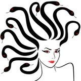 Female Head as a Medusa Gorgon. Vector illustration Stock Images