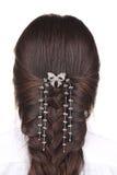 Female head with braided hair Royalty Free Stock Photos