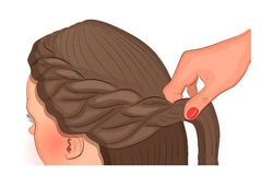 Female head. braiding. Vector illustration for theme and fashion publications. hairdresser`s art Royalty Free Stock Image