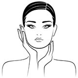 Female head with careful hands. Lifestyle concept vector illustration Stock Photos