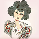 Female head. East fantasy beauty. Square  illustration Royalty Free Stock Images