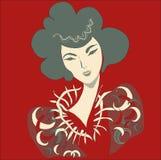 Female head1. East fantasy beauty. Square  illustration Stock Photography