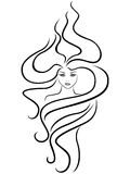 Female head with extraordinary hairstyle. Abstract female head with extraordinary hairstyle, hand drawing vector outline Royalty Free Stock Photo