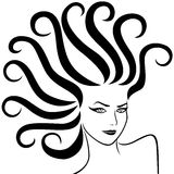 Female head with fancy pigtails Royalty Free Stock Image