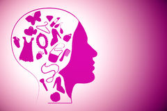 Female head with girly items Stock Photography