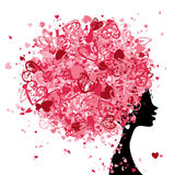 Female head with hairstyle made from tiny hearts Royalty Free Stock Photo