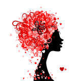 Female head with hairstyle made from tiny hearts vector illustration