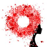 Female head with hairstyle made from tiny hearts royalty free illustration
