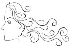 Female Head Long Hair Profile. A sketch digital illustration in black and white of a young woman's profile with long flowing hair Royalty Free Stock Photography