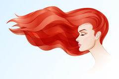 Female head with long red hair Stock Photo