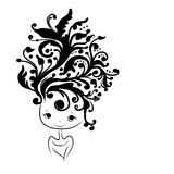 Female head silhouette, floral hairstyle for your Stock Images