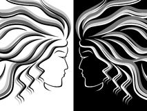 Female head silhouettes. Black, white and grey silhouettes of female heads on white and black background, hand drawing vector illustration Stock Image