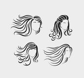 Female head silhouettes with long hair Royalty Free Stock Image
