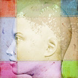 Female head with smudged paint. Female head on stained vintage paper with smudged paint. 3d abstract illustration Royalty Free Stock Image