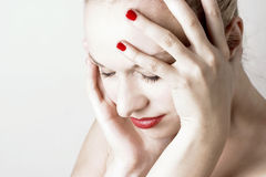 Female with headache Stock Photo