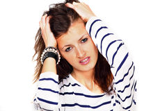 Female with headache or stress Stock Photo