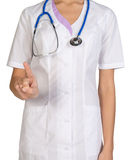 Female headless doctor pointing to something or pressing imaginary button Royalty Free Stock Photo