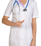 Female headless doctor pointing to something or pressing imaginary button Royalty Free Stock Photography