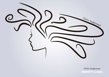 Female heads with beautiful hair. vector Royalty Free Stock Image
