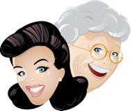 Female heads illustration Stock Photography