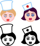Female Heads of Nurses and Chefs Stock Photography