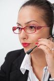 Female with headset Royalty Free Stock Images