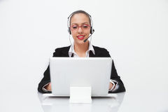 Female with headset Stock Photo