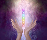 Working with the Seven Major Chakra Energy Vortexes. Female healer`s hands either side of seven chakra vortexes on an ethereal dark to light misty swirling Royalty Free Stock Photo