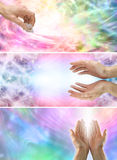 Female Healing Hands and healing energy x 3 banners. Three healing website banners showing healing energy, rainbow colors and female hands Stock Photo